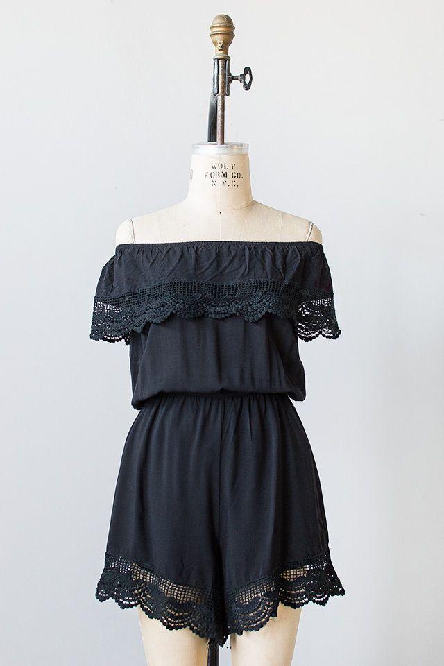 vintage inspired black crochet lace romper