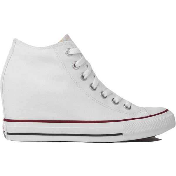 9d8052abf789 Converse Chuck Taylor All Star Lux Mid Top Sneaker Wedges - White ( 65) ❤  liked on Polyvore featuring shoes