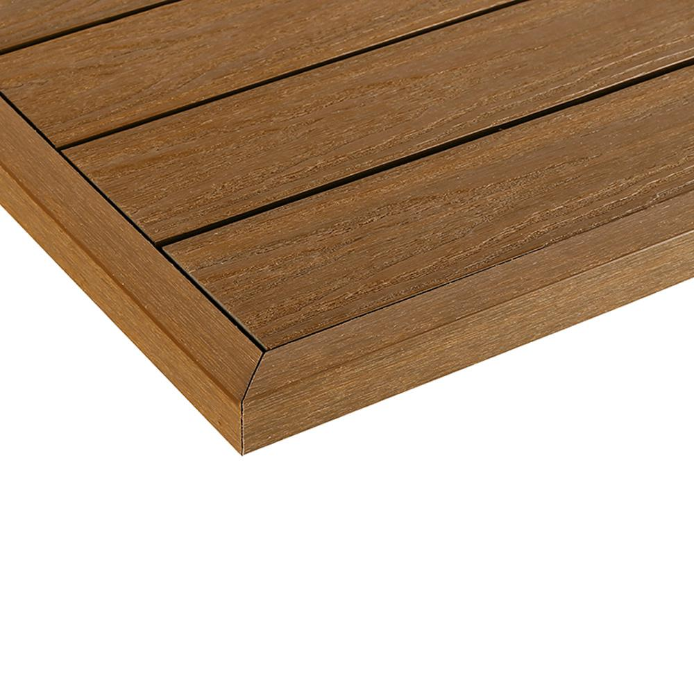 Newtechwood 1 12 Ft X 1 Ft Quick Deck Composite Deck Tile Outside Corner Fascia In Peruvian Teak 2 Pieces Box Us Qd Ot Zx Tk The Home Depot Deck Tile Composite Decking Fascia