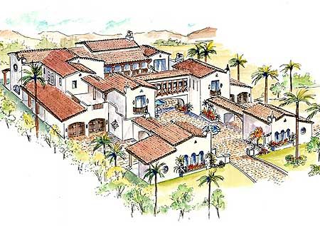 Plan 16385MD: Southwestern Estate Home | Balconies, Layouts and ...
