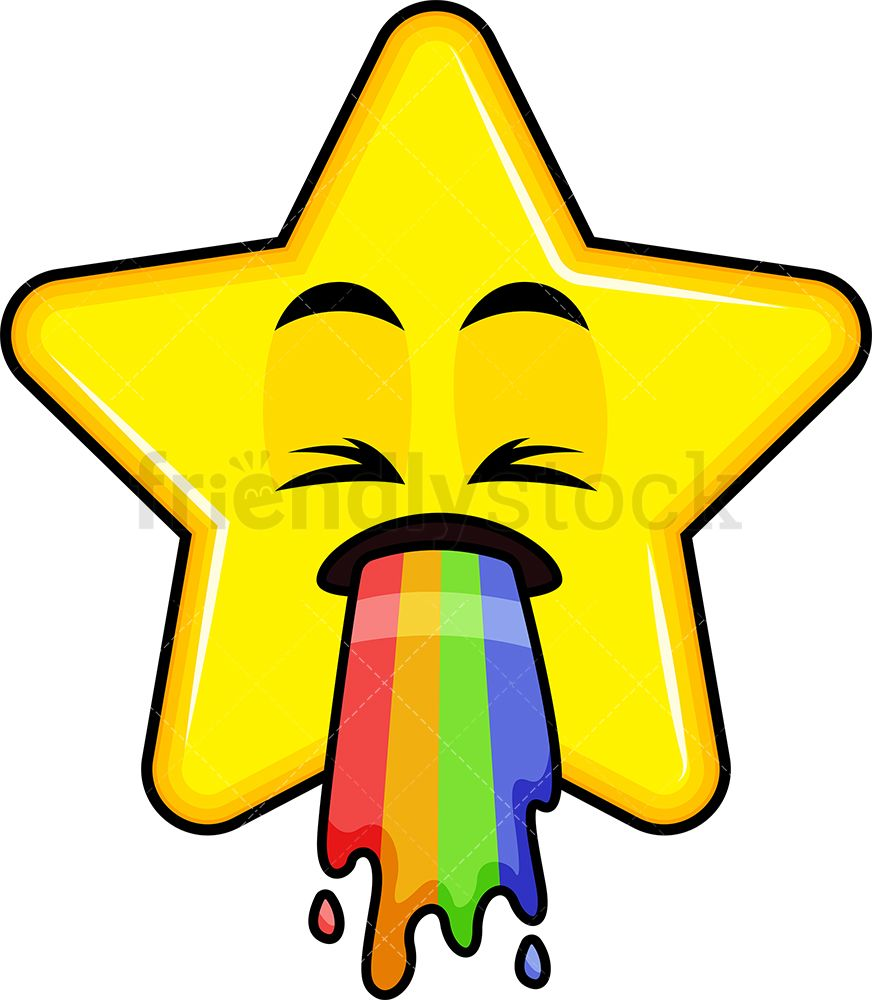 Rainbow Vomit Star Emoji Cartoon Clipart Vector Friendlystock Cartoon Clip Art Star Emoji Rainbow Vomit