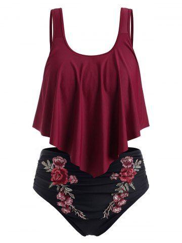 Photo of Plus Size Embroidered Ruffled Bikini Swimsuit