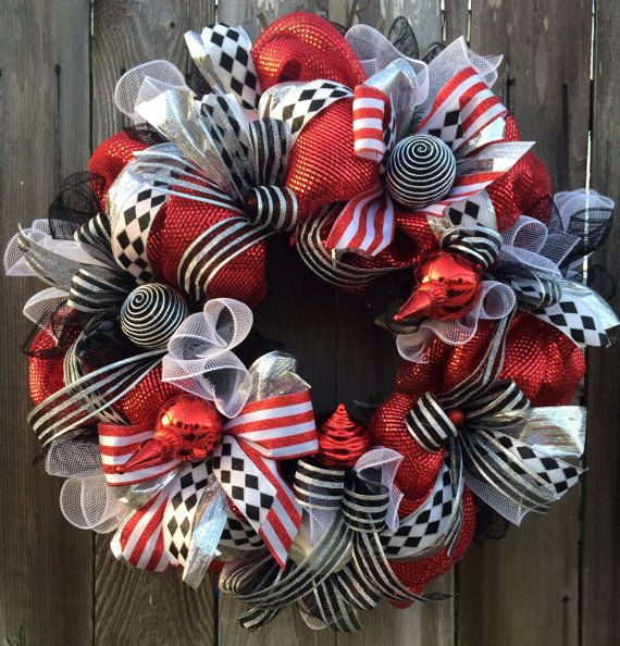 Reserved For Patricia Red White Black Silver Showstopper Christmas Wreaths White Christmas Ornaments Red Christmas Wreath