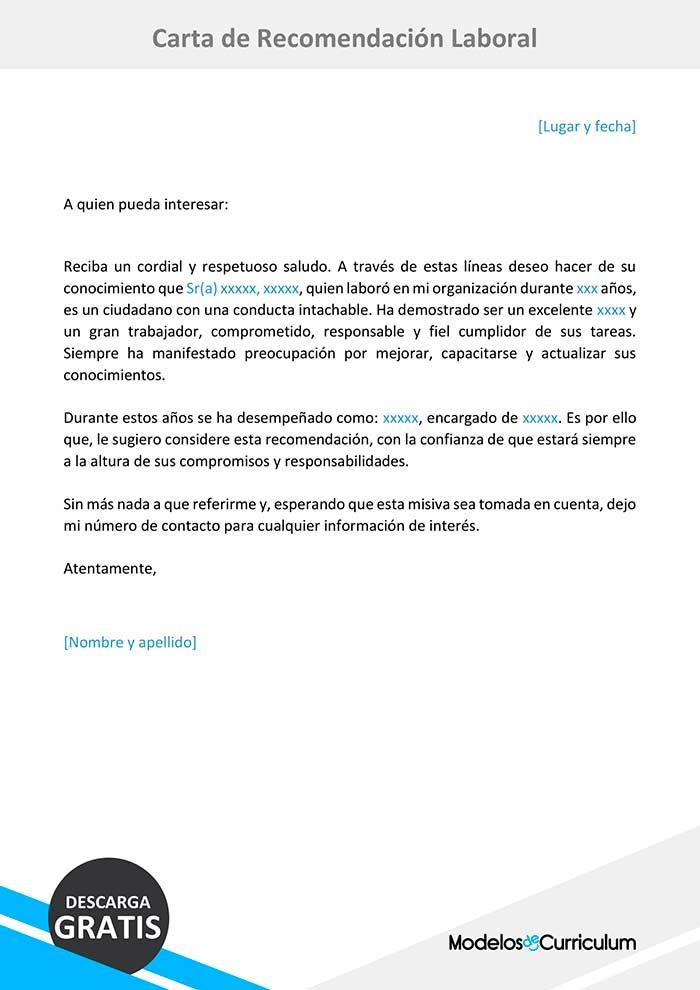 Trabajo Personal Trabajo Formato De Carta De Recomendacion Ejemplo De Carta De Recomendacion Laboral Descarga Gratis En
