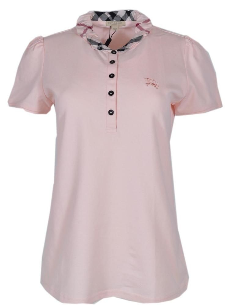 6e6513d5 New Burberry Brit Women's $215 Light Pink Cotton Nova Check Polo Shirt # Burberry #PoloShirt #Casual