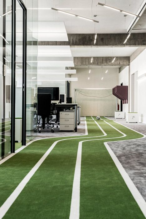 Office For A Football App Company Featuring Turfed Meeting Rooms And A Running Track Office Space Decor Sports Office Office Space