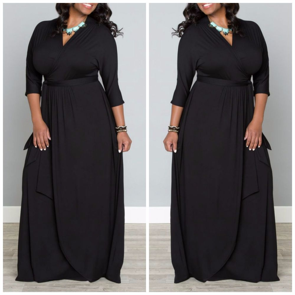 Details about Plus Size LONG SLEEVE SOLID BLACK MAXI WRAP DRESS ...