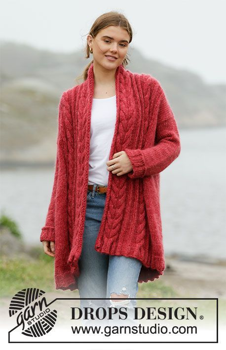 Photo of Winter Cardinal Cardigan – Longue veste tricotée en DROPS Nepal et DROPS Kid-Si…