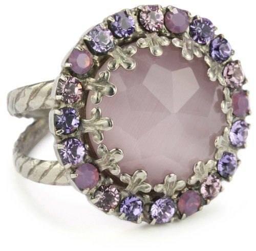 """Gold Rings for Women, Sorrelli """"Violet Eyes"""" Purple Crystal Round Cocktail Adjustable Ring"""