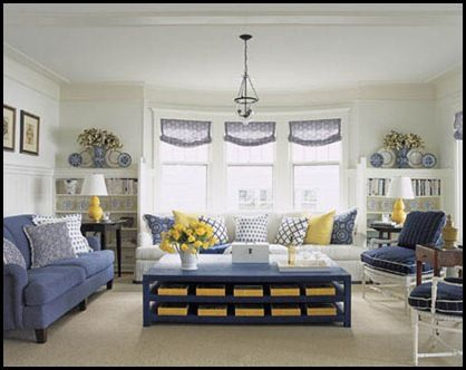 Paint the coffee table Hale Navy (Ben Moore) with yellow baskets. - Paint The Coffee Table Hale Navy (Ben Moore) With Yellow Baskets