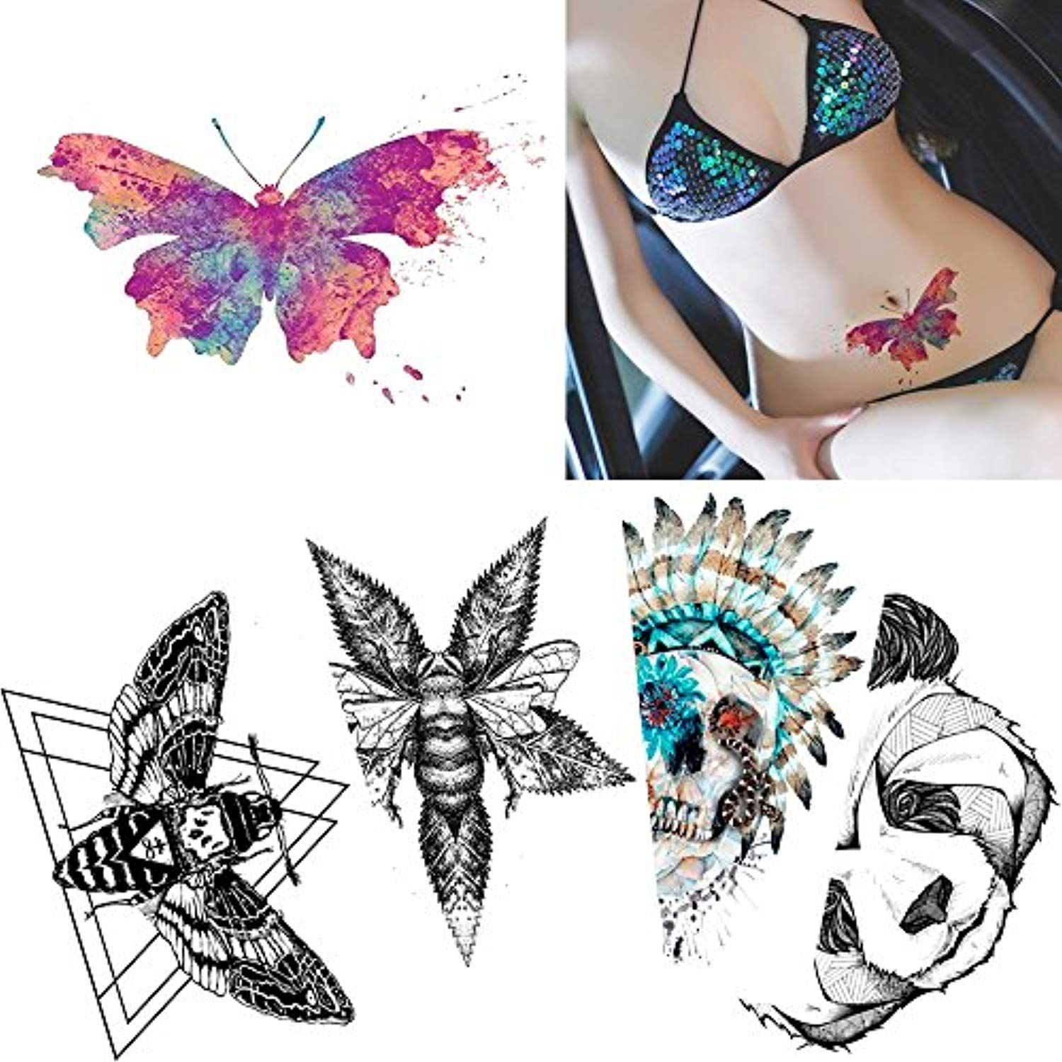 146207c6b 5 Sheets Colored Drawing Body Tattoo Temporary Butterfly Skull Sticker  Water Transfer Art -- Click image for more details. (This is an affiliate  link)