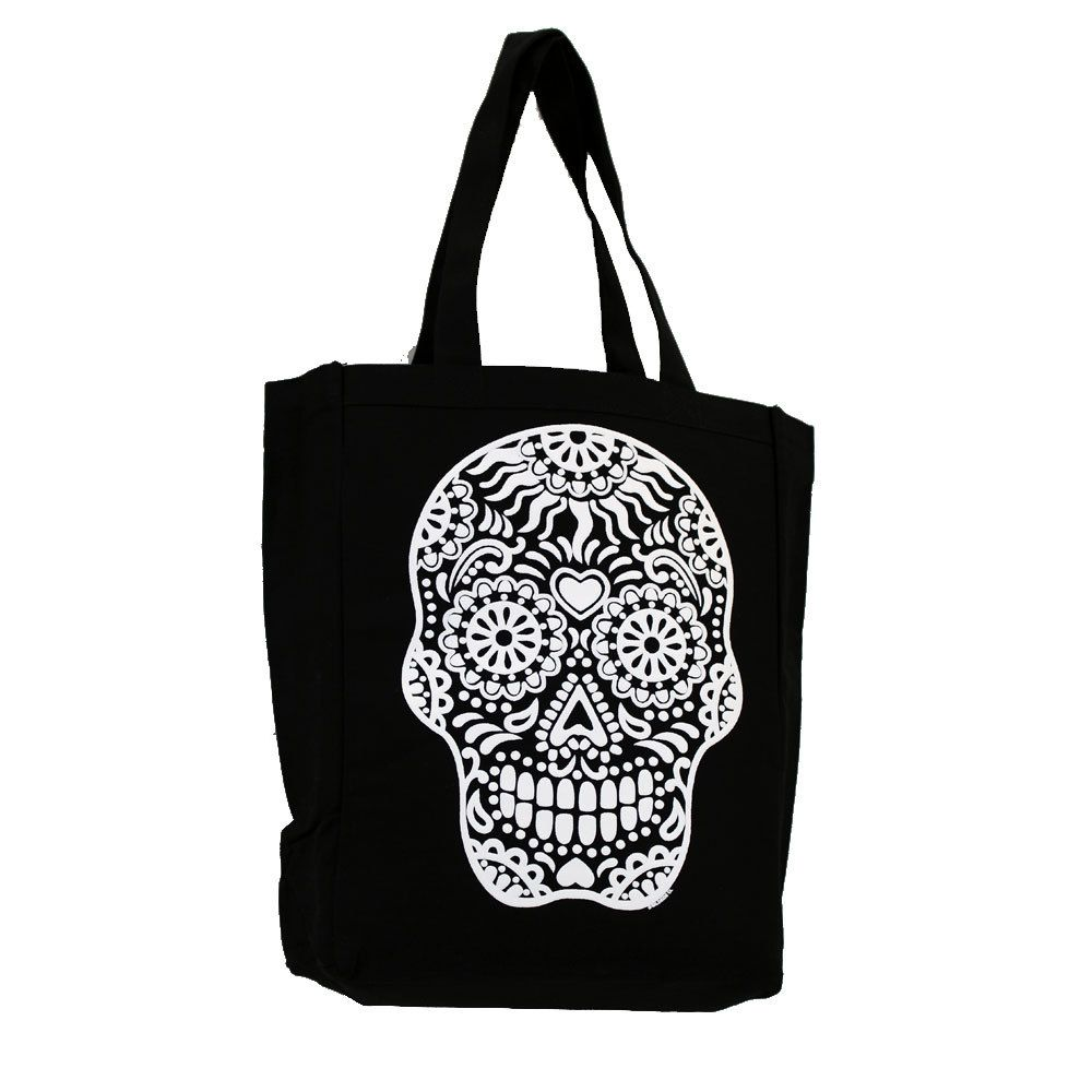 Purple Leopard Boutique - Black Tote Bag Beach Purse with White Day of the Dead Skull, $19.00 (http://www.purpleleopardboutique.com/black-tote-bag-beach-purse-with-white-day-of-the-dead-skull/)