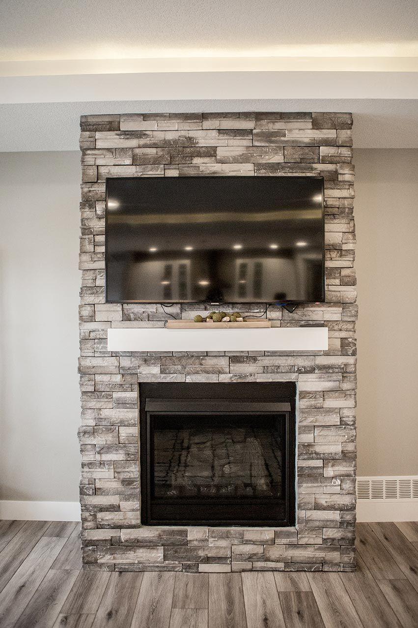 electric fireplace with white mantle coronado pro ledge huron stone enclosure [ 851 x 1277 Pixel ]