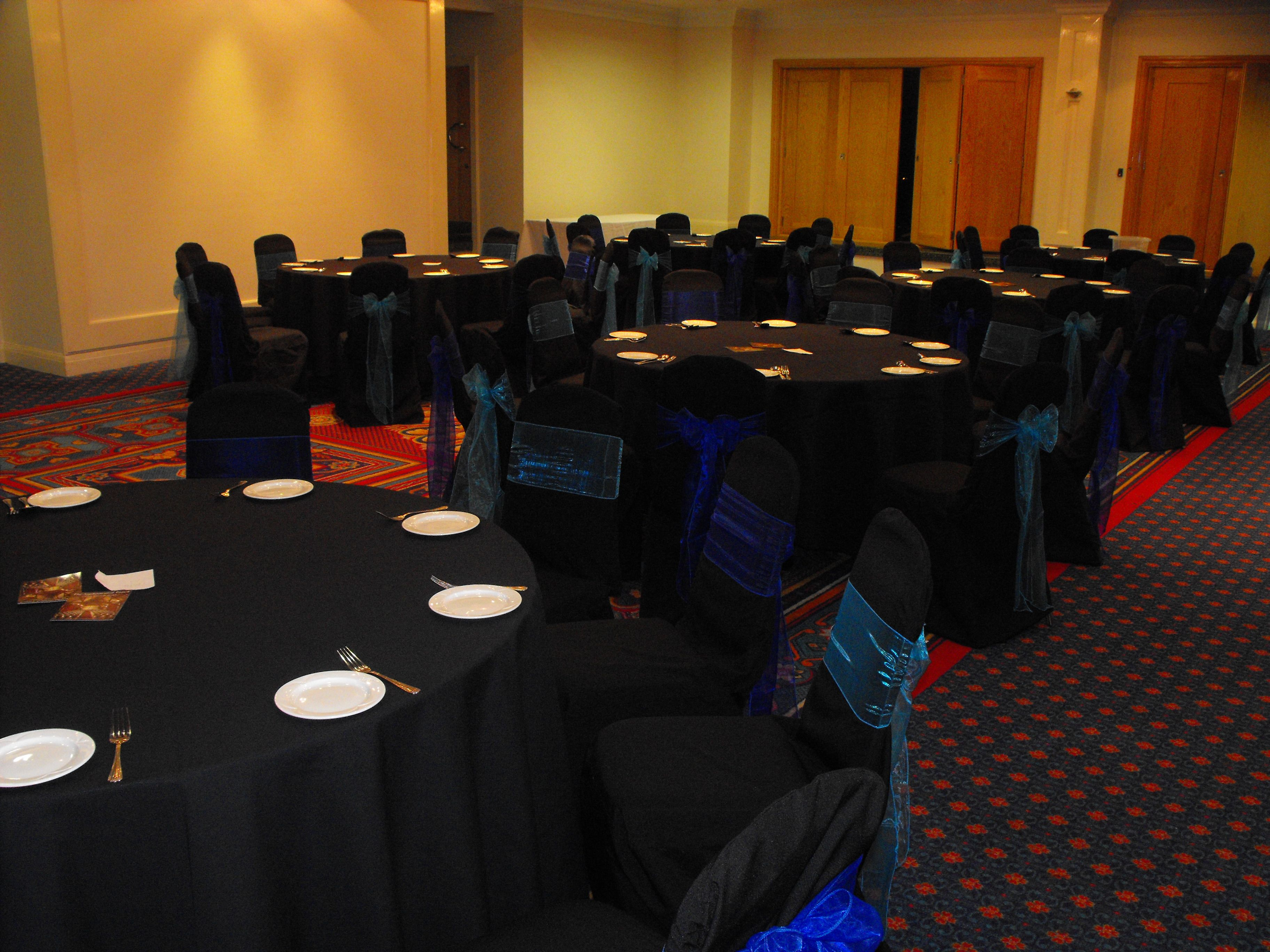 Black Chair Covers with alternating Turquoise and Royal Blue