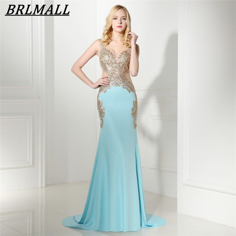 Click to Buy << BRLMALL See Through Blue Mermaid Prom Dress 2017 ...