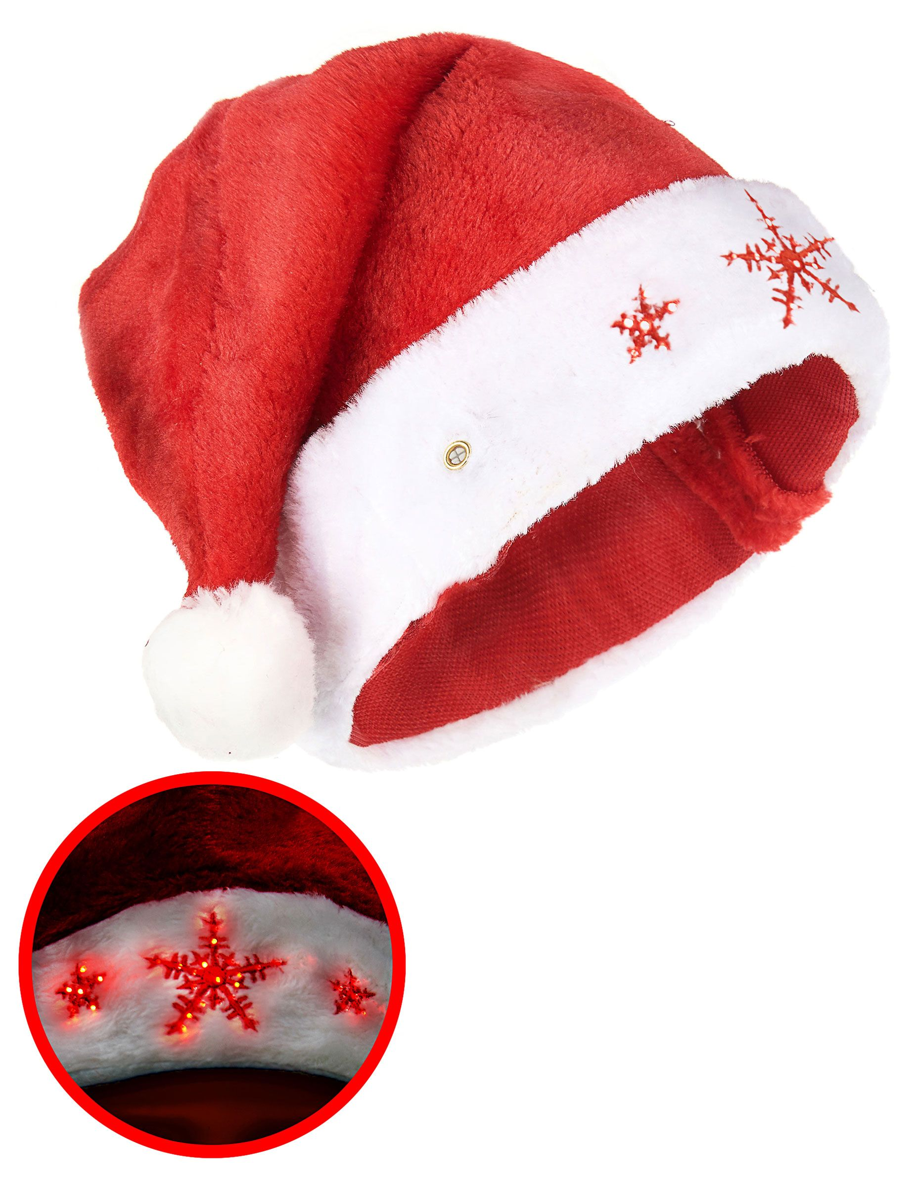 Etoiles blanches ou rouges 1 Bonnet de Noël lumineux en feutrine rouge Noël