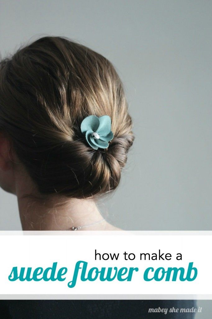 I love how this little suede flower makes the hairstyle shine and only takes a needle and thread to sew!