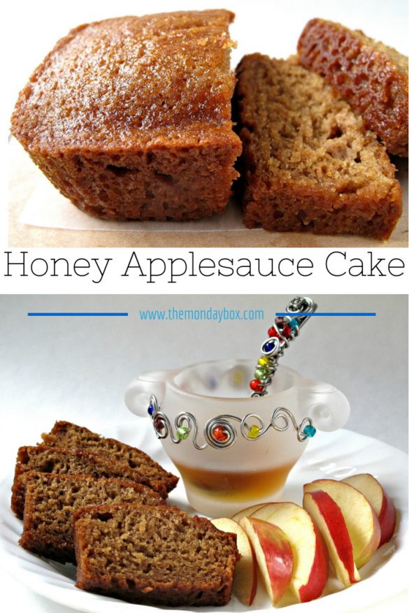 Honey Applesauce Cake- Made in a loaf pan, this moist cake is great for enjoying now or freezing for later. A perfect gift loaf, this cake stays fresh for at least a week with the flavor improving each day! Applesauce Cake- Made in a loaf pan, this moist cake is great for enjoying now or freezing for later. A perfect gift loaf, this cake stays fresh for at least a week with the flavor improving each day! | The Monday Box
