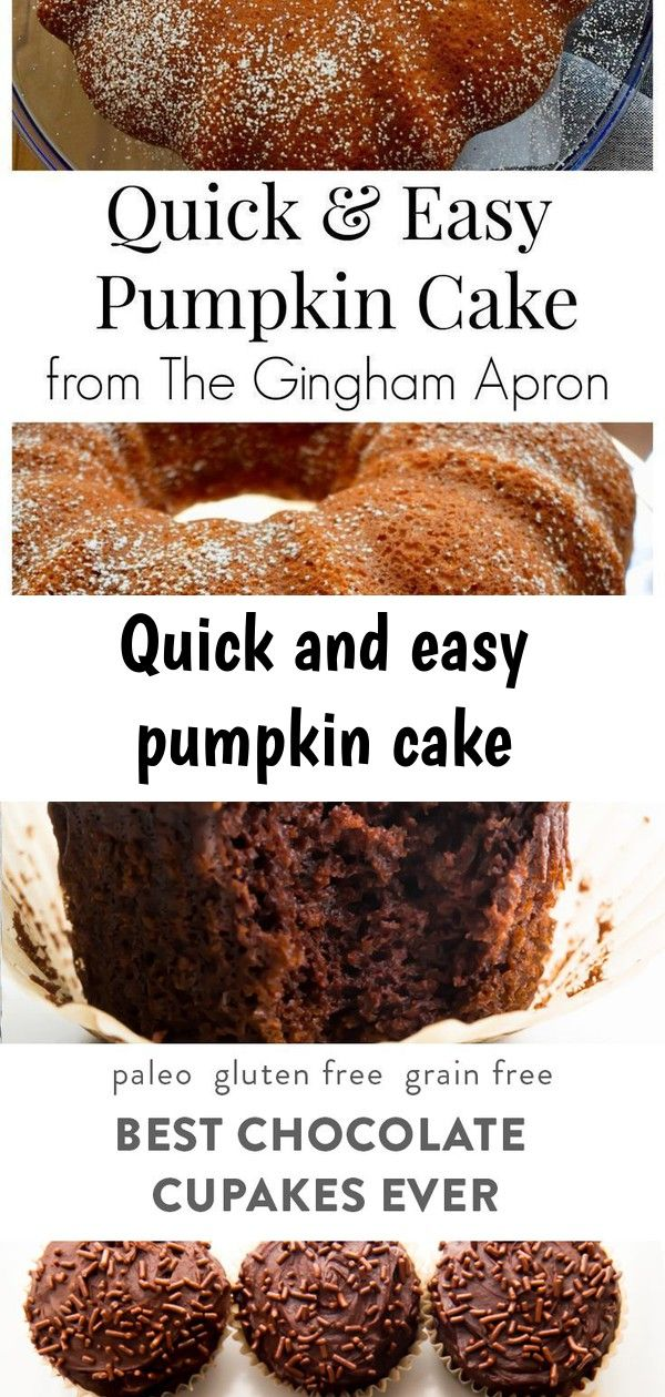Quick and easy pumpkin cake Quick and Easy Pumpkin Cake- this cake is the easiest, fastest, and most delicious pumpkin cake recipe. It starts with a yellow cake mix, which makes it so simple to make. These are the best chocolate paleo cupcakes ever! Gluten free and dairy free, they're moist and rich with a soft crumb, and the dark chocolate frosting is