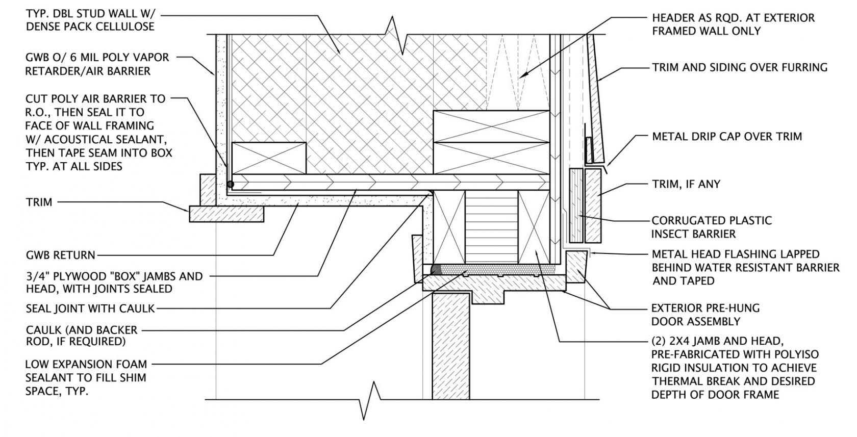 Plywood Door Jamb Click To Enlarge Sc 1 St Green Building Advisor Door Header Exterior Doors Door Detail