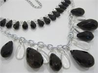 """Wow!  $32 : This two strand beauty is made with very dark indigo (almost black) acrylic teardrops in several sizes. Acrylic drops and faceted beads make up the rest of the design. About 20"""" long with a 4"""" extender chain. item #2854A"""