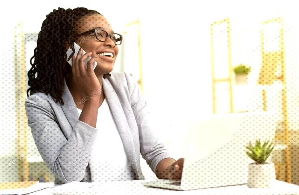 Afro Girl Talking On Phone Sitting At Laptop In Office By Prostock-studio¡¯s photos ,