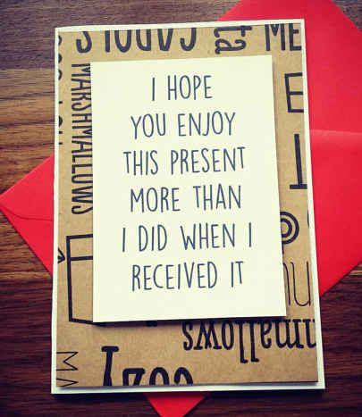 This re-gifting card: