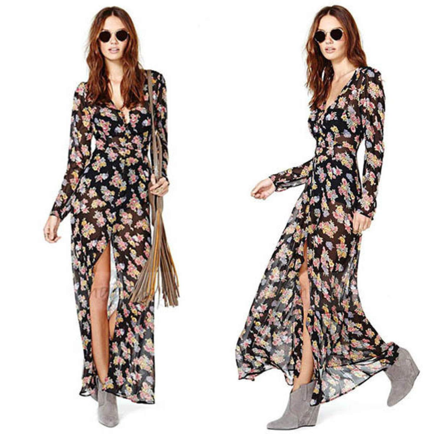 Black floral print long sleeve vneck with high slit chiffon maxi