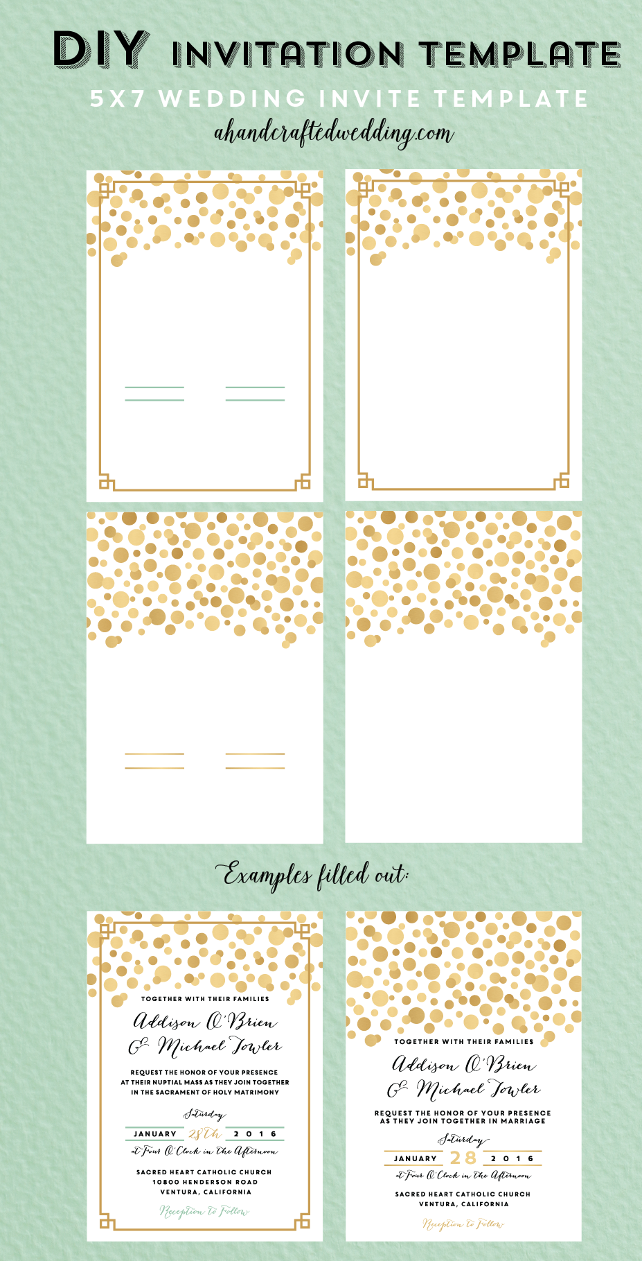 DIY Gold Polka Dot Printable Wedding Invitation Templates - |This ...