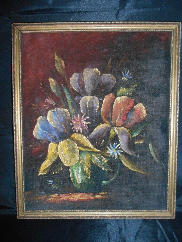 Vintage Original Oil Painting on Velvet Iris Still Life Flowers in a Cup  #StillLife