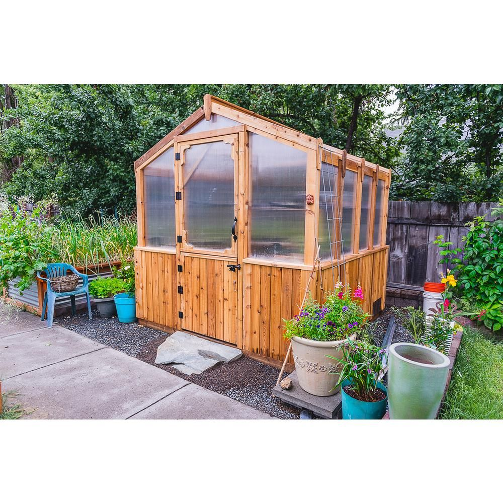 Outdoor Living Today 8 Ft X 8 Ft Greenhouse Kit Gh88 The Home Depot Cedar Greenhouse Backyard Greenhouse Outdoor Greenhouse Backyard greenhouse home depot