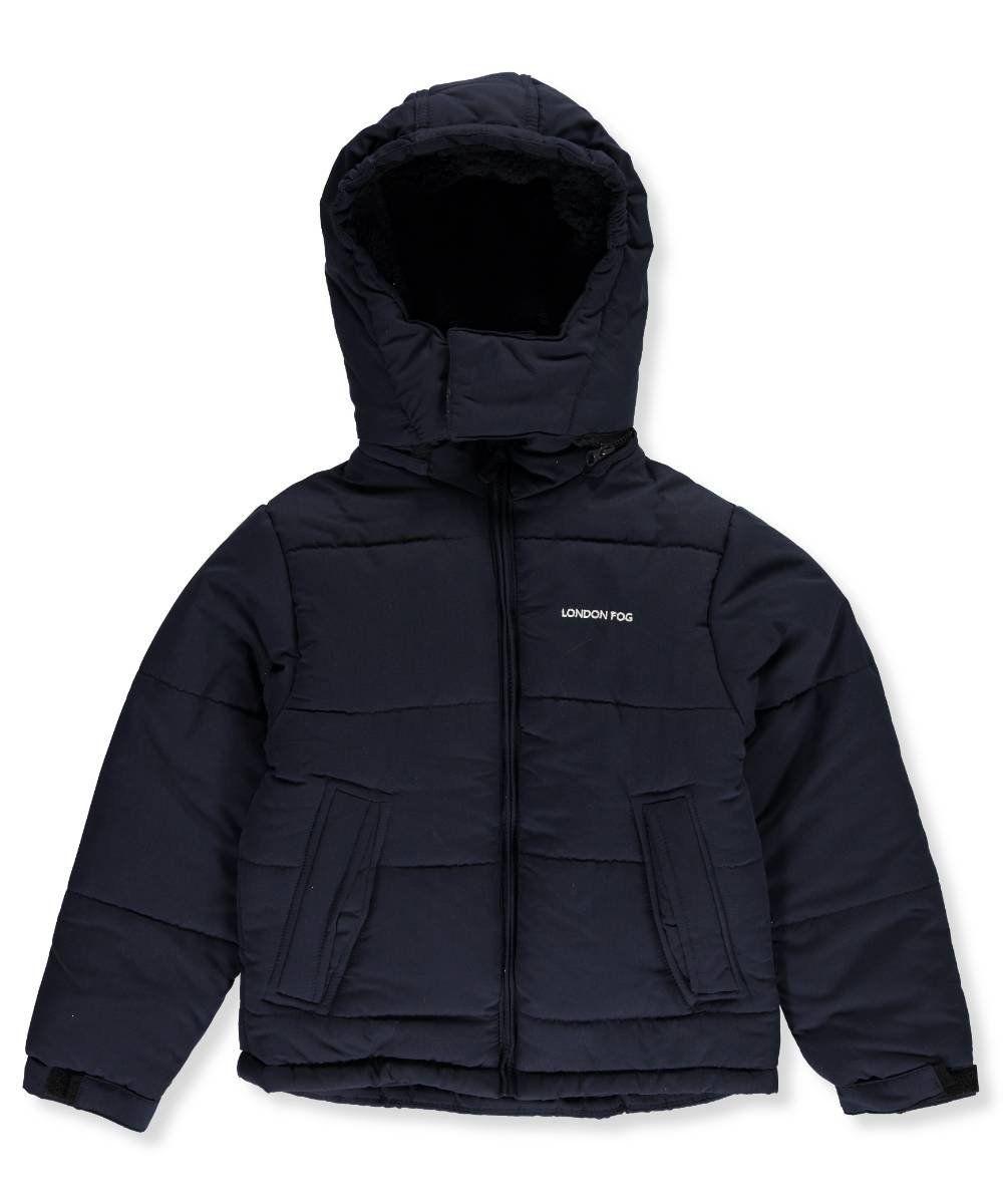 f27b4a6ec8b1 London Fog Big Boys  Hooded Bubble Jacket with Cozy Teddy Lining ...