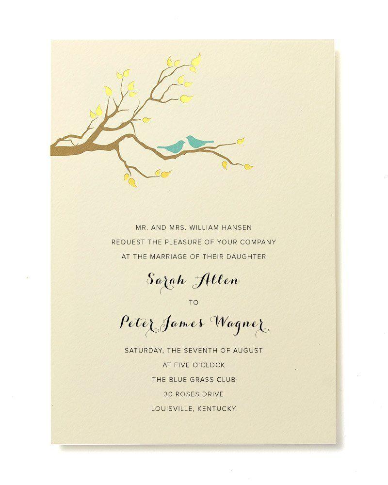 Brides Wedding Invitation Kit: BRIDES Gold Foil Birds Print At Home Invitation Kit Set Of