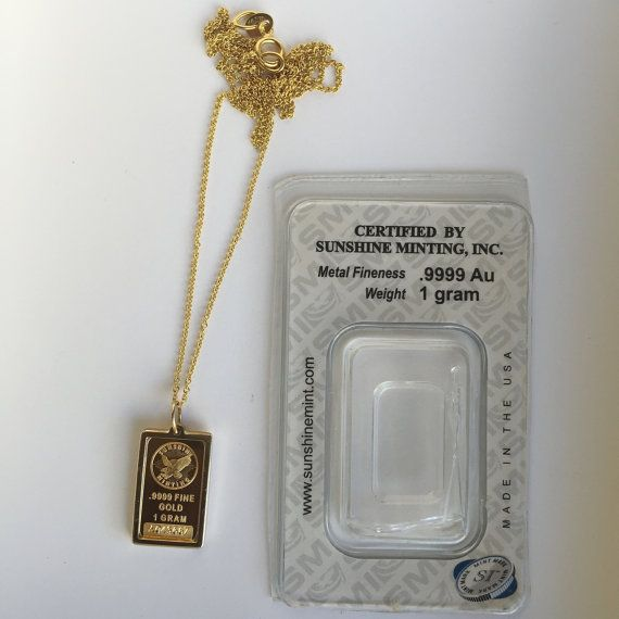 Pure Gold 1 Gram Sunshine Minting Design Pendant Necklace Ready To Ship Plata Oro
