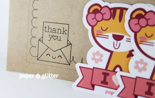 06_sticker kawaii stationery tiger party favor valentine love cute girls stamps idea gift pencil label big sticker pink
