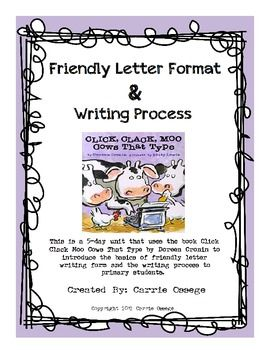 Friendly Letter Format Writing Process Reading Writing