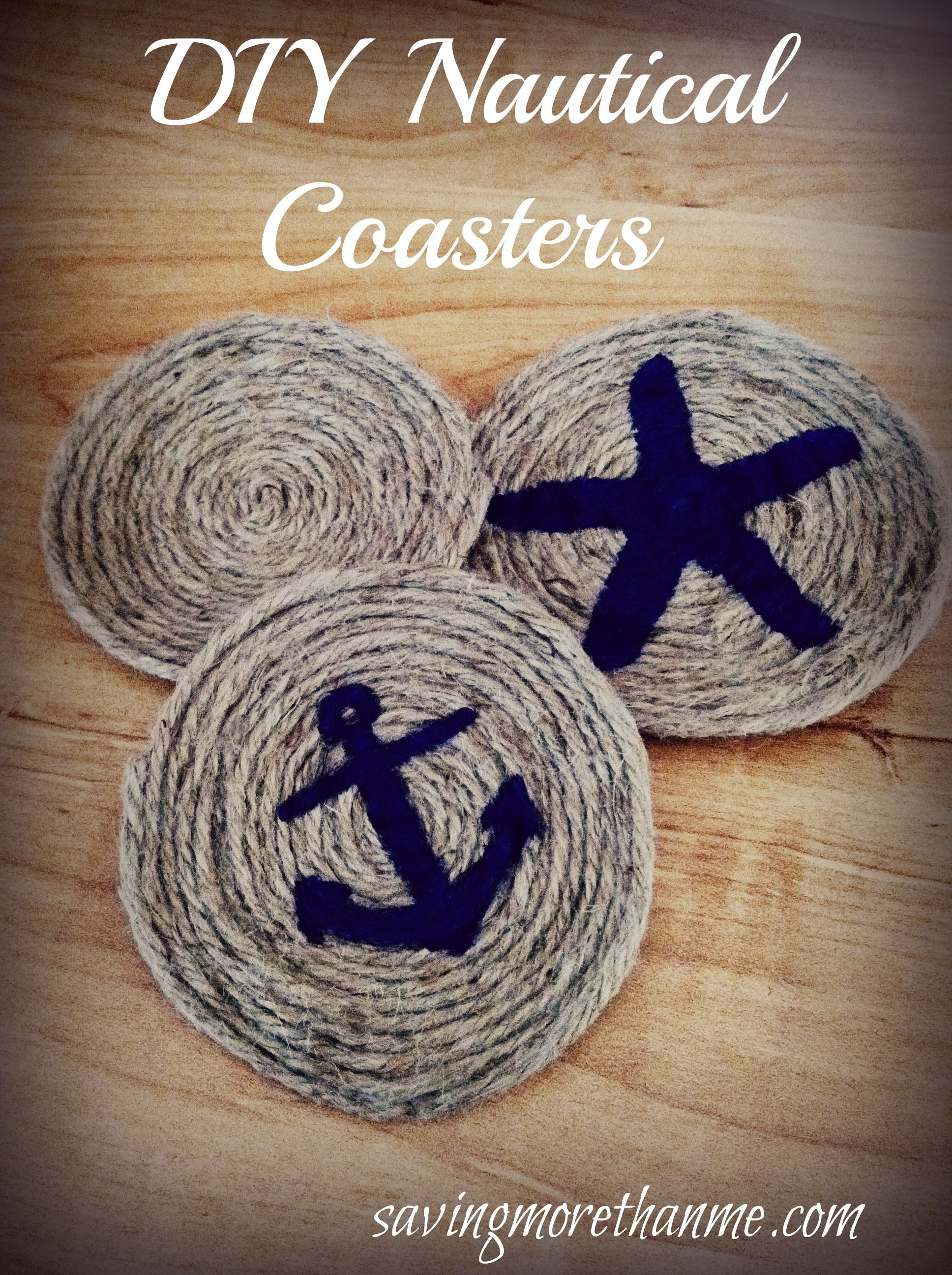Diy nautical themed rope coasters crafts nautical rope for Nautical craft ideas