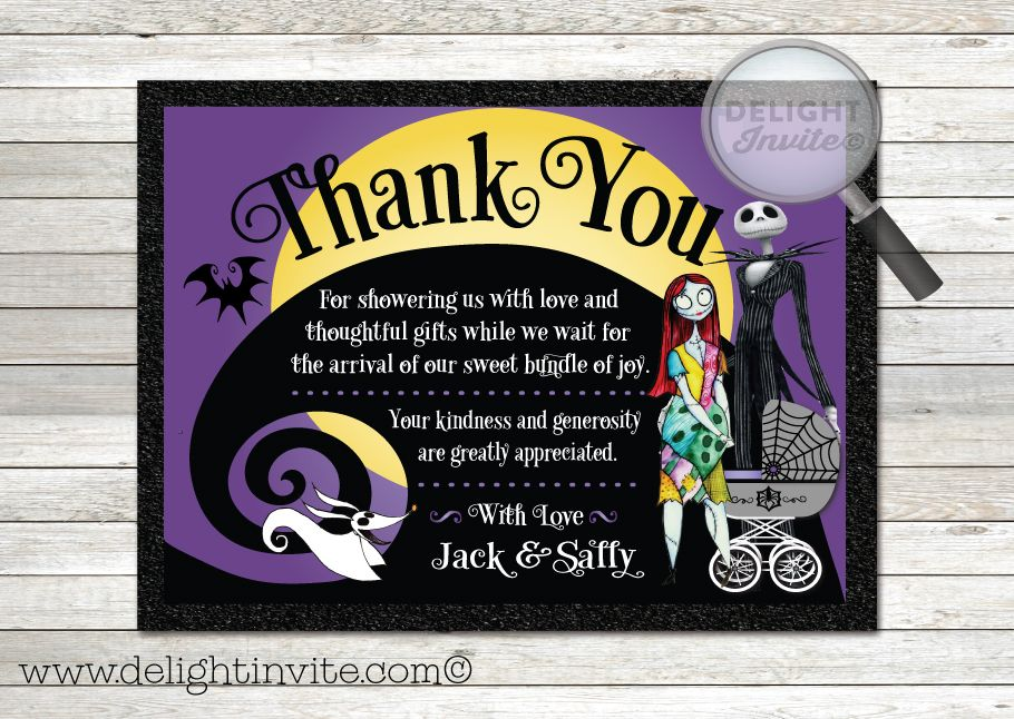 12 best nightmare before christmas baby shower invitations images on nightmare before christmas baby shower thank you cards filmwisefo