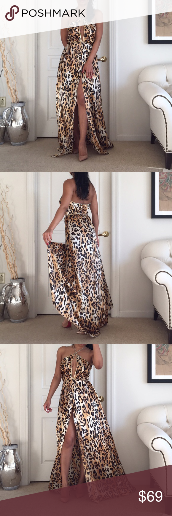 Holt Miami leopard swim coverup Beautiful leopard print swim coverup with gold tie around neck. Ties are stretchy to accommodate height. There is a zip in the front and a nice airy slit. Lycra poly blend. I'm 5,5 wearing 120mm heels. No trades please. holt miami Swim Coverups