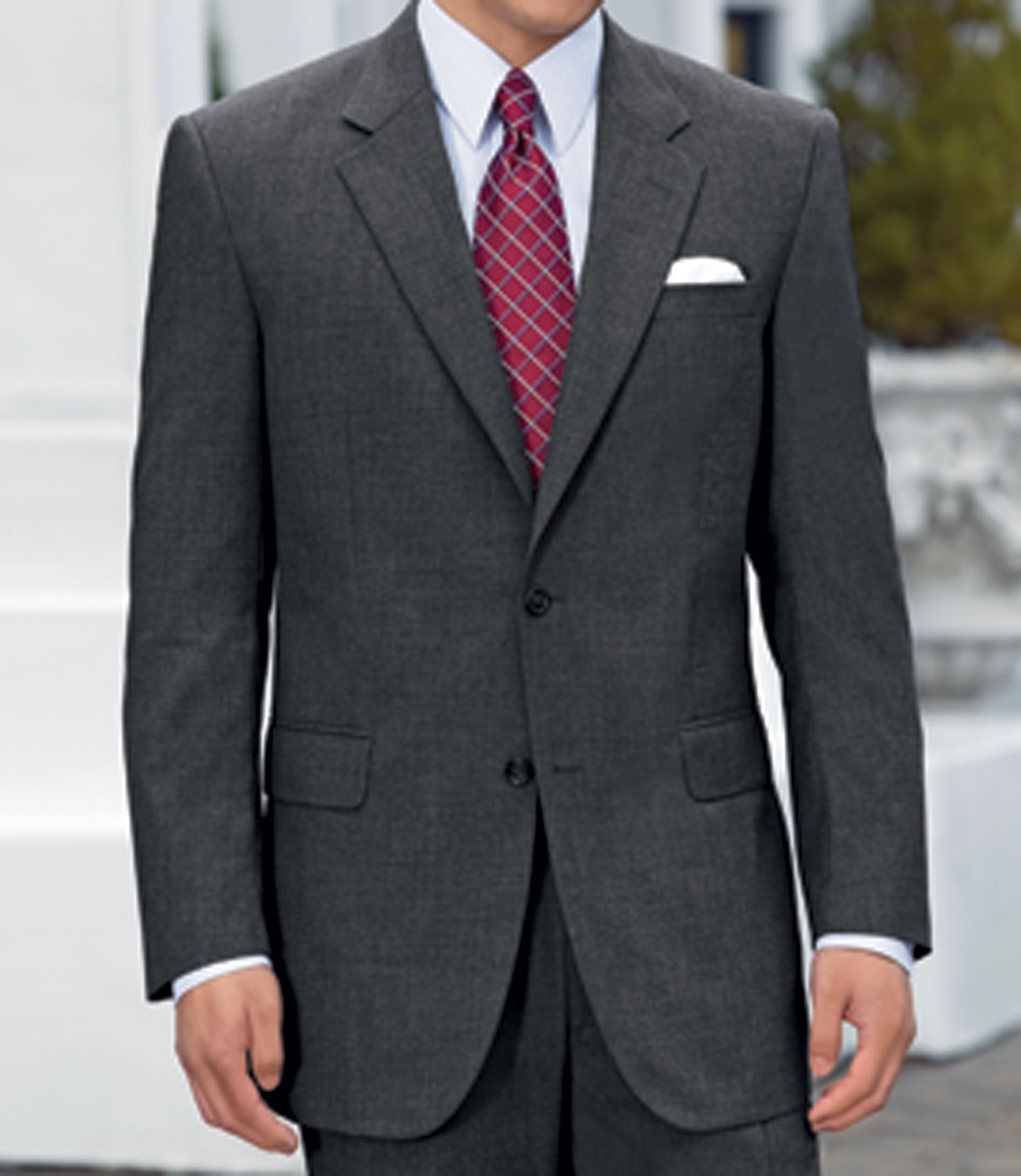 779165de8 Executive 2-Button Wool Suit with Center Vent with Pleated Front Trousers