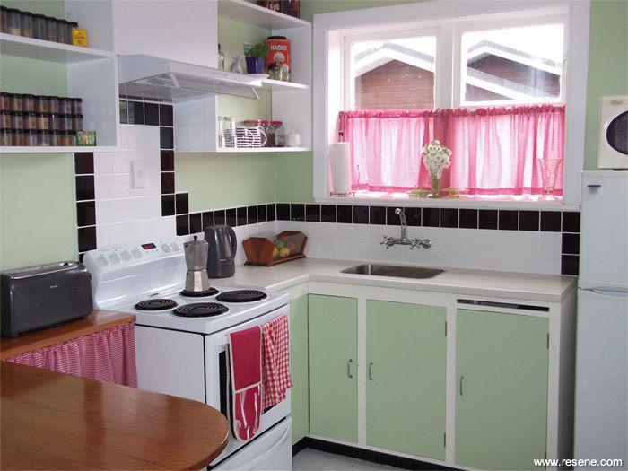 Art Deco Kitchens resene soft apple on kitchen walls | te akau road interiors