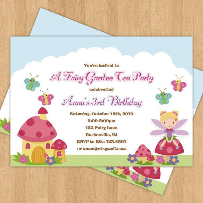 Fairy Garden Birthday Party Invitation Thank You Card Digital – Garden Party Invitation Wording