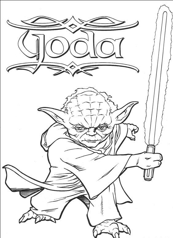Kleurplaten Star Wars Yoda.Slashing His Sword Ready Yoda Coloring Page Kleurplaten