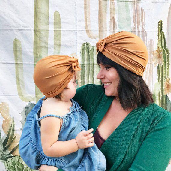 0a081636fd7 Mommy   Me Set - Camel Turban hat w bow
