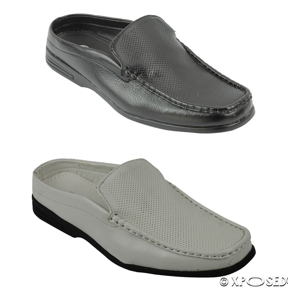 f5c969e0f Mens Smart Casual Faux Leather Half Shoes Back less Slip on Sandals Black  White