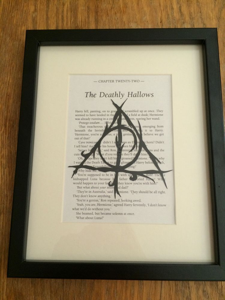 Harry Potter Framed Art, Deathly Hallows paper cut book page art ...