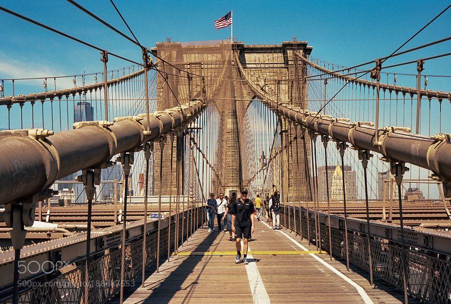 http://500px.com/photo/188687553 New York by Individuals -Contax G2 with Carl Zeiss 21mm F2.8 and Kodak Ektar.. Tags: skycitywatertraveltowerarchitecturebridgebuildingindustryequipmentironsteeloutdoorsconstructionexpressionropebusinessconnectionFilmBridgeNYAmericaNewYorkAnalogEktarKodak EktarNYctransportation systemContax g2