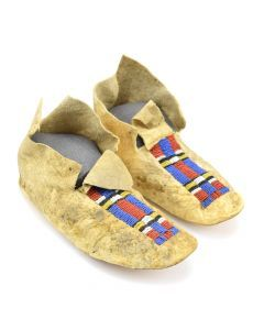 Northern Plains Beaded Leather Moccasins c. 1900s, 4