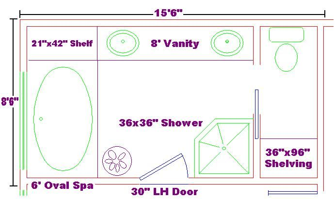 Master bath 8x15 ideas floor plan with oval spa and shelf for Large bathtub dimensions