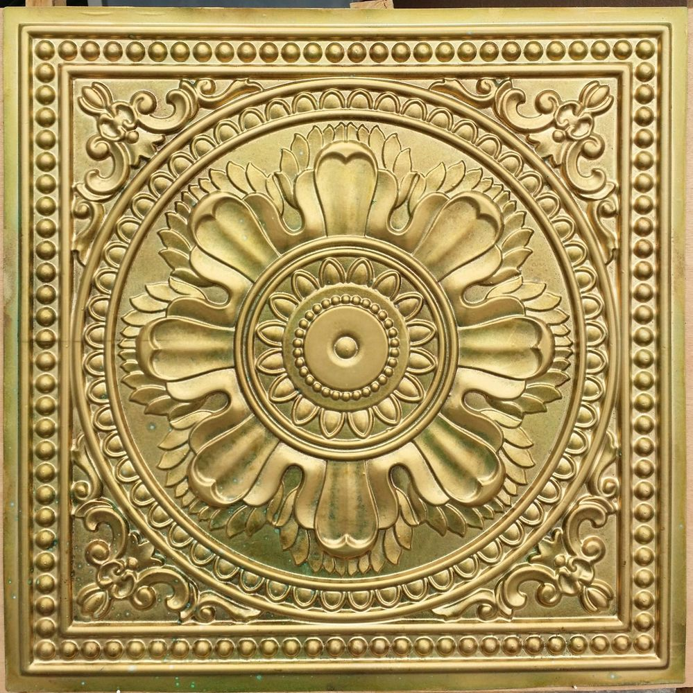 PL17 Faux tin finishes aged brass ceiling tiles decoration wall ...